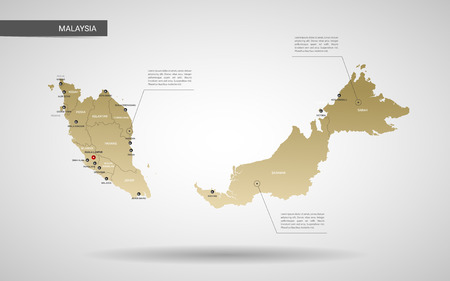 Stylized vector Malaysia map. Infographic 3d gold map illustration with cities, borders, capital, administrative divisions and pointer marks, shadow; gradient background.