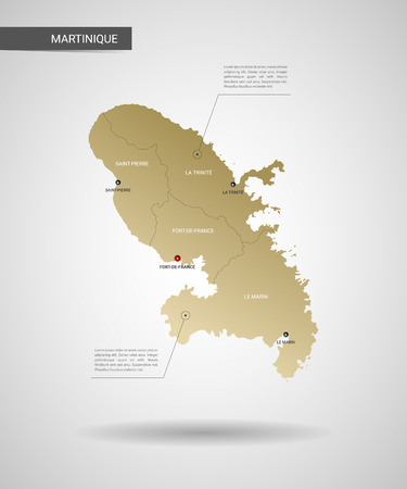Stylized vector Martinique map. Infographic 3d gold map illustration with cities, borders, capital, administrative divisions and pointer marks, shadow; gradient background.