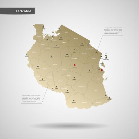 Stilisierte Vektorkarte von Tansania. Infographic 3D-Goldkartenillustration mit Städten, Grenzen, Hauptstadt, Verwaltungsabteilungen und Zeigermarken, Schatten; Hintergrund mit Farbverlauf.