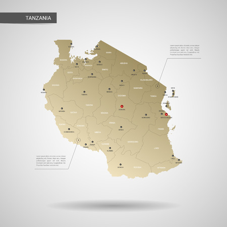 Stylized vector Tanzania map.  Infographic 3d gold map illustration with cities, borders, capital, administrative divisions and pointer marks, shadow; gradient background.