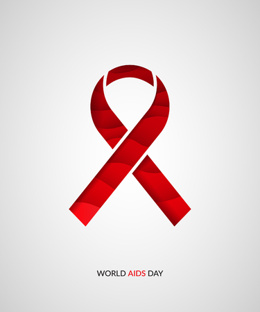 World Aids day concept. Red ribbon on gradient background. Paper cut vector illustration.