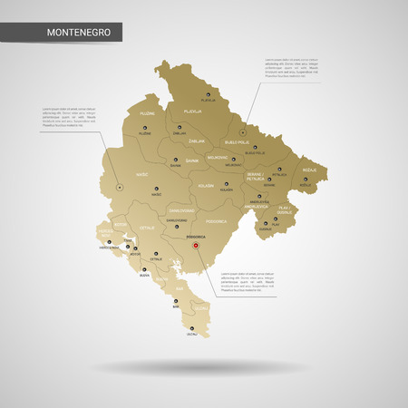 Stylized vector Montenegro map.  Infographic 3d gold map illustration with cities, borders, capital, administrative divisions and pointer marks, shadow; gradient background. Imagens - 110853863