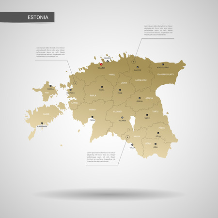 Stylized vector Estonia map. Infographic 3d gold map illustration with cities, borders, capital, administrative divisions and pointer marks, shadow; gradient background.