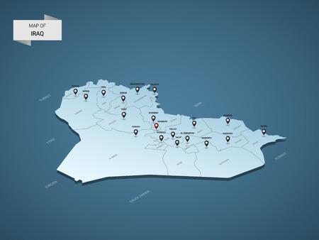Carte isométrique 3D de l'Irak, illustration vectorielle avec villes, frontières, capitale, divisions administratives et marques de pointeur; fond bleu dégradé. Concept d'infographie.