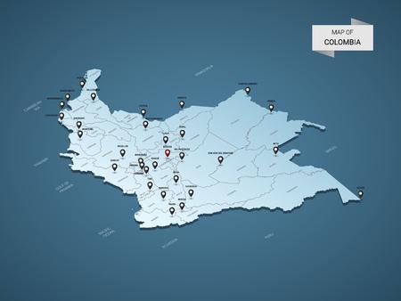 Mapa de Colombia 3D isométrico, ilustración vectorial con ciudades, fronteras, capitales, divisiones administrativas y marcas de puntero; fondo azul degradado. Concepto de infografía.