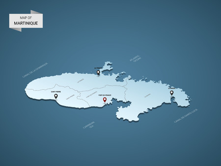 Isometric 3D Martinique map, vector illustration with cities, borders, capital, administrative divisions and pointer marks; gradient blue background. Concept for infographic.