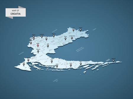 Isometrische 3D-Kroatien-Karte, Vektorillustration mit Städten, Grenzen, Hauptstadt, Verwaltungsabteilungen und Zeigermarkierungen; blauer Hintergrund mit Farbverlauf. Konzept für Infografik.