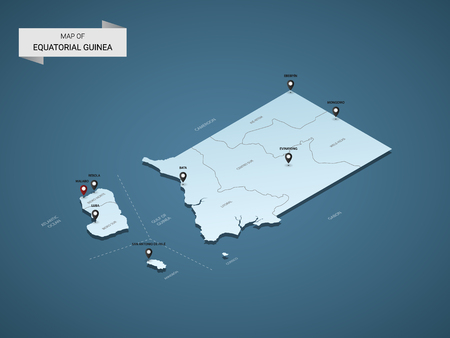 Isometric 3D Equatorial Guinea map,  vector illustration with cities, borders, capital, administrative divisions and pointer marks; gradient blue background.  Concept for infographic.
