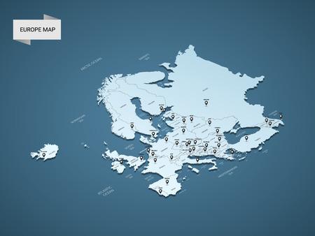 Carte d'Europe 3D isométrique, illustration vectorielle avec villes, frontières, capitale, divisions administratives et marques de pointeur; fond bleu dégradé. Concept d'infographie.