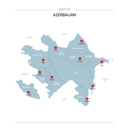 Azerbaijan vector map. Editable template with regions, cities, red pins and blue surface on white background.