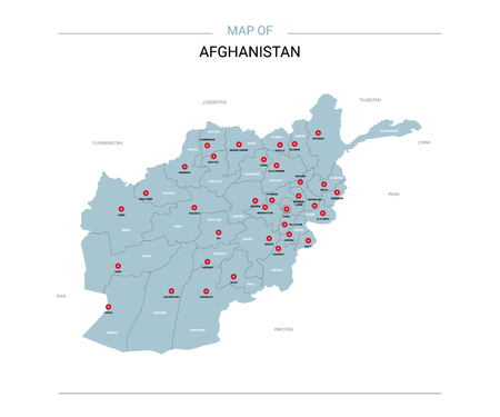 Afghanistan vector map. Editable template with regions, cities, red pins and blue surface on white background. Ilustrace