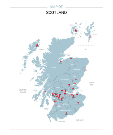 Scotland vector map. Editable template with regions, cities, red pins and blue surface on white background.