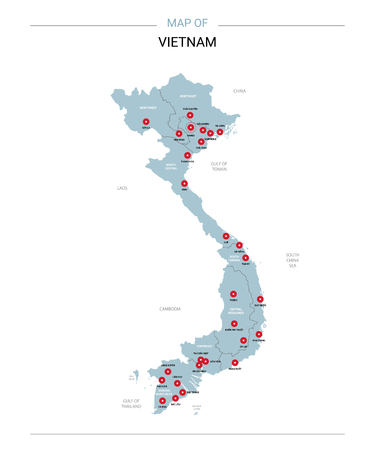 Vietnam vector map. Editable template with regions, cities, red pins and blue surface on white background.