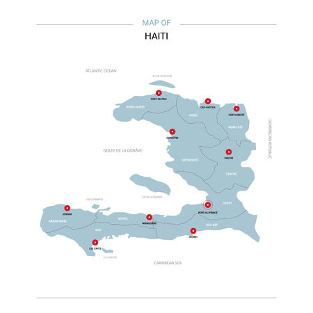 Haiti vector map. Editable template with regions, cities, red pins and blue surface on white background.