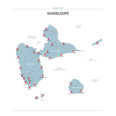 Guadeloupe vector map. Editable template with regions, cities, red pins and blue surface on white background.