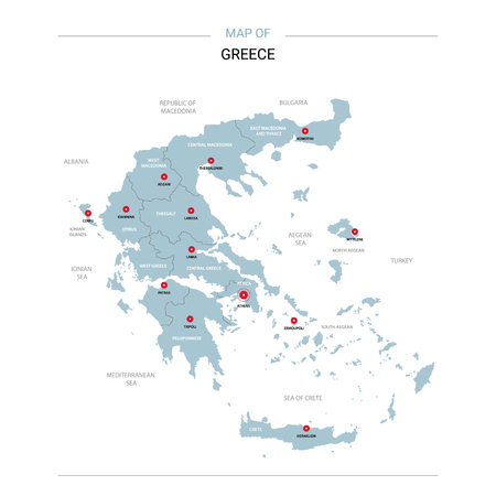 Greece vector map. Editable template with regions, cities, red pins and blue surface on white background.