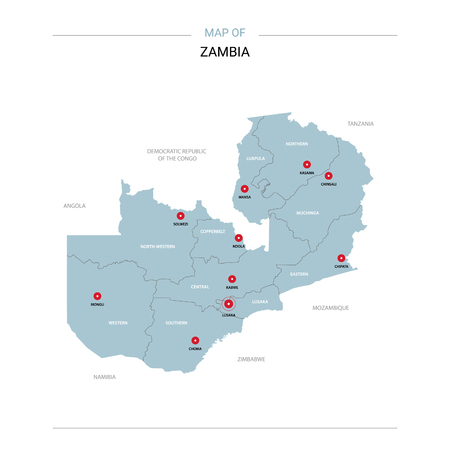 Zambia vector map. Editable template with regions, cities, red pins and blue surface on white background. Illustration