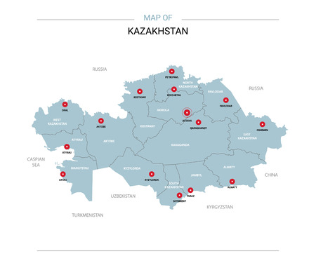 Kazakhstan vector map. Editable template with regions, cities, red pins and blue surface on white background.