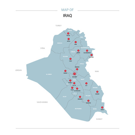 Iraq vector map. Editable template with regions, cities, red pins and blue surface on white background.