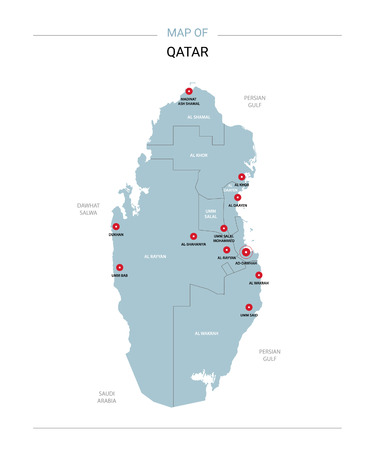 Qatar vector map. Editable template with regions, cities, red pins and blue surface on white background.