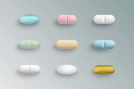 Realistic colorful medical pills, tablets, capsules isolated on  background. 3d pills pharmaceutical vector illustration.