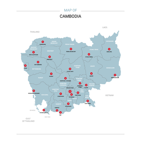 Cambodia vector map. Editable template with regions, cities, red pins and blue surface on white background.