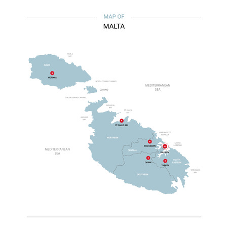 Malta vector map. Editable template with regions, cities, red pins and blue surface on white background.