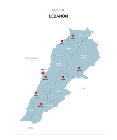 Carte vectorielle du Liban. Modèle modifiable avec régions, villes, épingles rouges et surface bleue sur fond blanc. Vecteurs