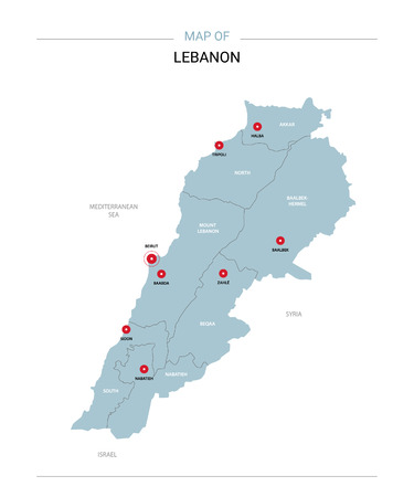 Lebanon vector map. Editable template with regions, cities, red pins and blue surface on white background.