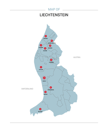 Liechtenstein vector map. Editable template with regions, cities, red pins and blue surface on white background.