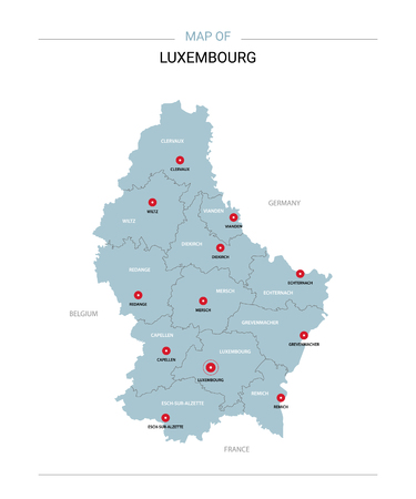 Luxembourg vector map. Editable template with regions, cities, red pins and blue surface on white background.