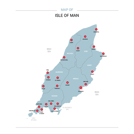 Isle of Man vector map. Editable template with regions, cities, red pins and blue surface on white background.