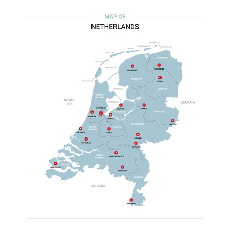 Netherlands vector map. Editable template with regions, cities, red pins and blue surface on white background. Ilustrace