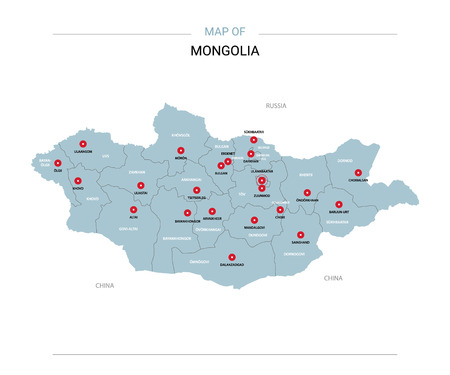 Mongolia vector map. Editable template with regions, cities, red pins and blue surface on white background.