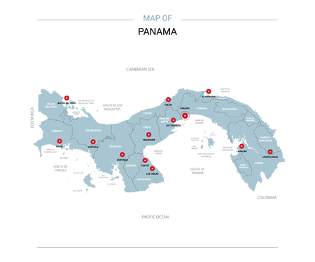 Panama vector map. Editable template with regions, cities, red pins and blue surface on white background.