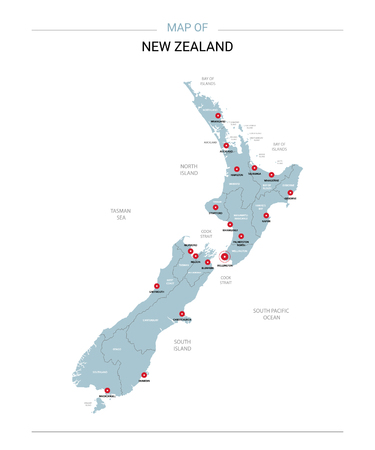 New Zealand vector map. Editable template with regions, cities, red pins and blue surface on white background. Ilustrace