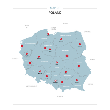 Poland vector map. Editable template with regions, cities, red pins and blue surface on white background.
