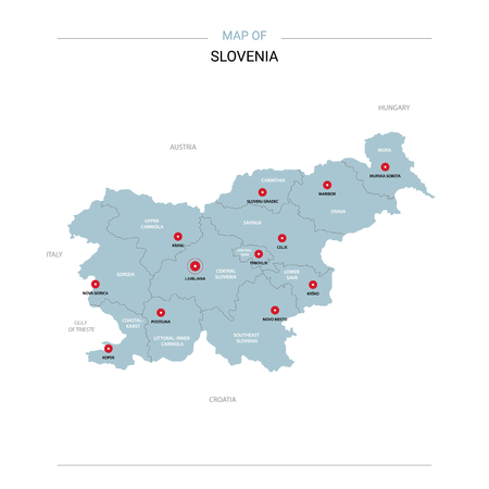 Slovenia vector map. Editable template with regions, cities, red pins and blue surface on white background.