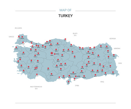 Turkey vector map. Editable template with regions, cities, red pins and blue surface on white background. Illustration