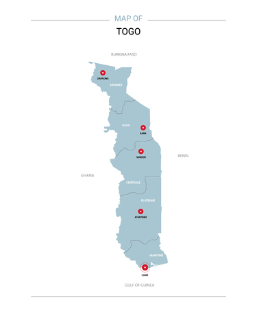 Togo vector map. Editable template with regions, cities, red pins and blue surface on white background.
