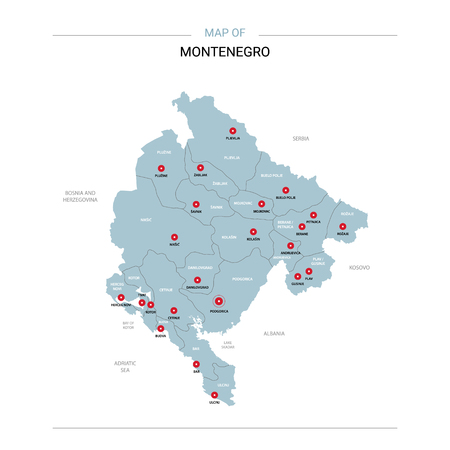 Montenegro vector map. Editable template with regions, cities, red pins and blue surface on white background.