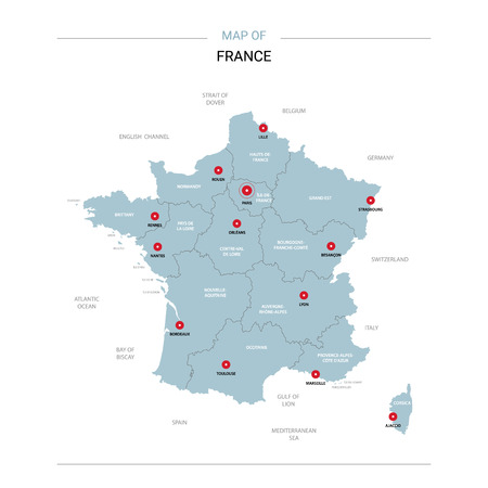 France vector map. Editable template with regions, cities, red pins and blue surface on white background. Ilustrace