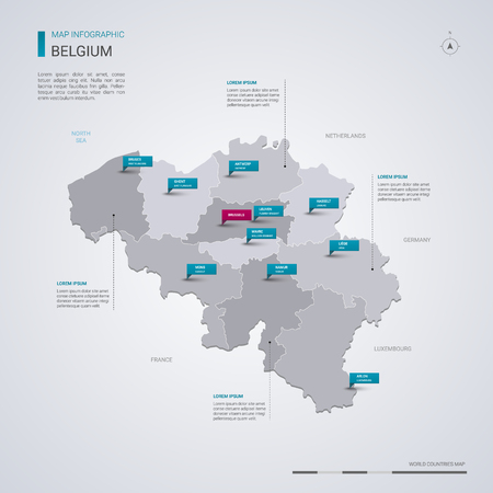 Belgium vector map with infographic elements, pointer marks. Editable template with regions, cities and capital Brussels.
