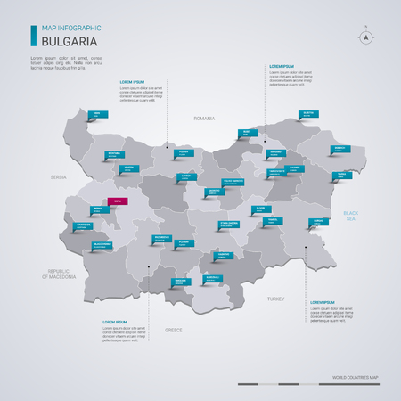 Bulgaria vector map with infographic elements, pointer marks. Editable template with regions, cities and capital Sofia. Иллюстрация