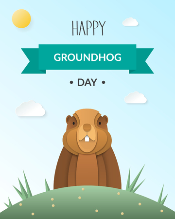 Happy Groundhog Day design card with marmot looking out from the burrow on background with sky, clouds and text. Paper cut style. Vector illustration.