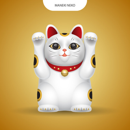 Realistic vector Maneki-neko, lucky japan cat on gold color background. Illusztráció