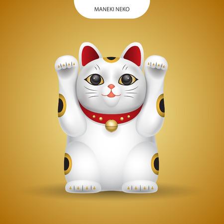 Vecteur réaliste Maneki-neko, chat du Japon chanceux sur fond de couleur or.