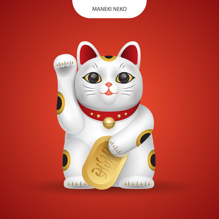 Vecteur réaliste Maneki-neko, chat du Japon chanceux sur fond de couleur rouge. Vecteurs