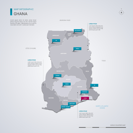 Ghana vector map with infographic elements, pointer marks. Editable template with regions, cities and capital Accra.