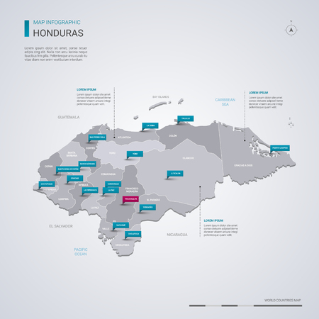 Honduras vector map with infographic elements, pointer marks. Editable template with regions, cities and capital Tegucigalpa. Ilustrace